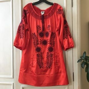 Ivy Jane Red Satin Embroidered Dress/Tunic size M